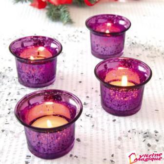 4 suporturi pentru lumanari (violet)