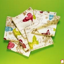 Set de 6 servetele textile cu fluturi