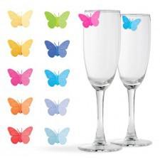 Set 10 decoratiuni pahare - fluturi