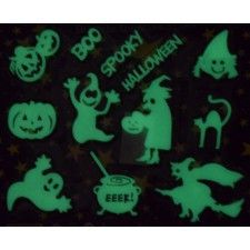 Set 12 decoratiuni Halloween fosforescente